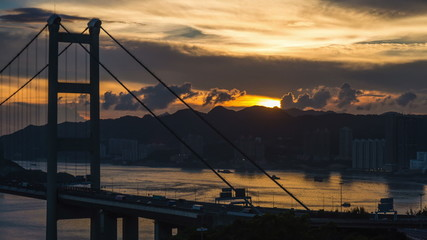Tsing Ma bridge time lapse sun set