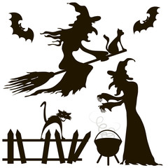 Halloween. Set of silhouettes. Witches, black cats, bats