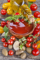 Tomato ketchup with olive oil and vegetables