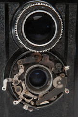 two lens of old vintage camera closeup