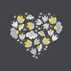 oliwkowe szare kwiaty i kropki serce na ciemnym tle
