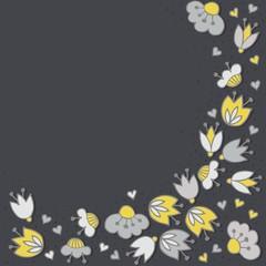 oliwkowe szare kwiaty i kropki obramowanie na ciemnym tle