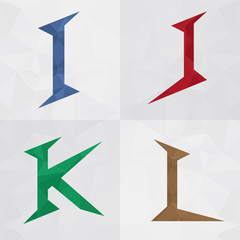 I J K L Mix alphabet letter font icon. Creative Marketing.