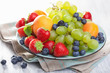 fresh fruits and berries. strawberry blueberry grape apricot