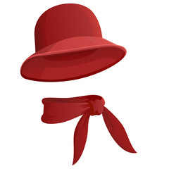 Red woman's hat with scarf isolated on white background