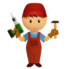 Cartoon handyman with hammer and drill