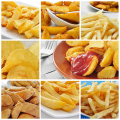 fried potatoes collage