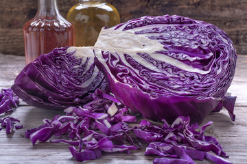 Homemade and healthy red cabbage on a wooden table