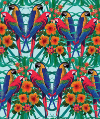 Seamless pattern with macaws, palm leaves and flowers.