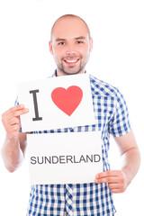 Man with city sign Sunderland.
