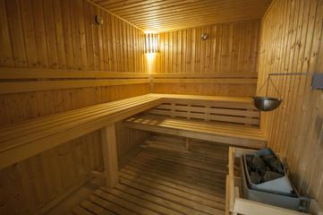 Interior of sauna in health spa