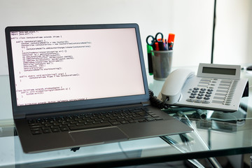 source code on a laptop pc