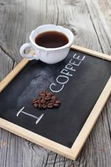 Black roasted coffee beans