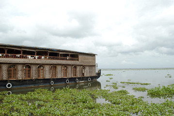 Houseboat in Backwaters, Kerala on a cloudy day