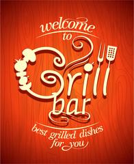 Grill bar retro poster.
