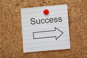 Success This Way reminder on a cork notice board