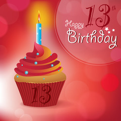 Happy 13th Birthday message -Bokeh Vector -cupcake & candle