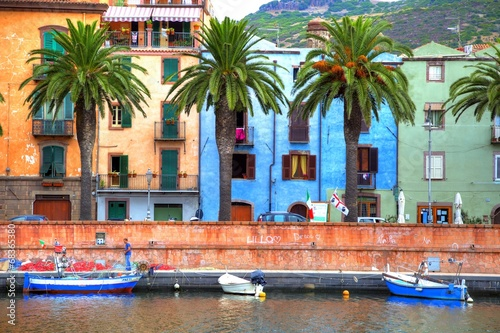 Keuken foto achterwand Rivier Boats on the river, Bosa, Sardinia