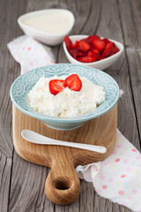 Dieting cottage cheese with fresh strawberries