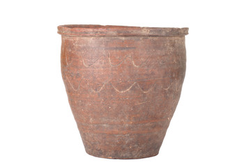 old ceramic pot handmade with pattern isolated on white backgrou