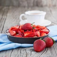 Homemade cake with strawberries