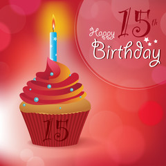 Happy 15th Birthday message -Bokeh Vector -cupcake & candle