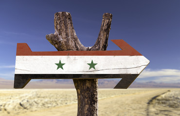 Syria wooden sign with a desert background