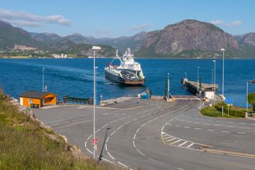Ferry arriving in Lauvik, Norway