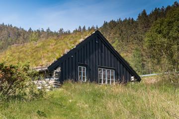 Wooden hut in famous Revsvatnet park, Norway