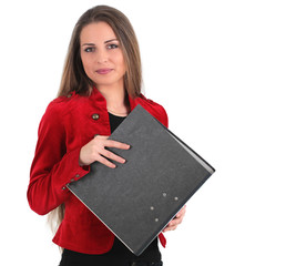 Sekretärin mit Aktenordner