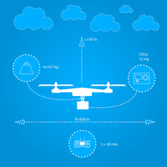Flat illustration for technical characteristics of quadrocopter