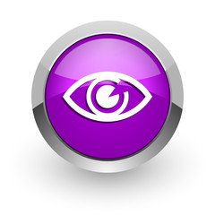eye pink glossy web icon