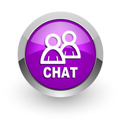 chat pink glossy web icon