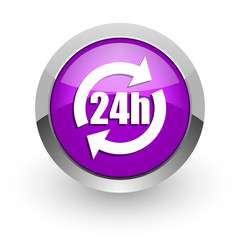 24h pink glossy web icon