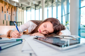 Girl felt sleep in the University class while studying