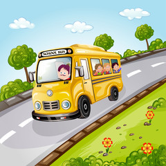 Illustration of happy children on school bus