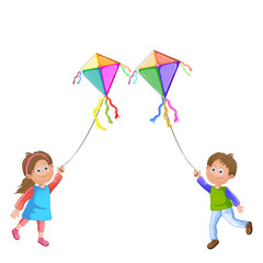 Cartoon kids playing with kite.