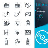Fototapety Lineo - Media and Technology outline icons