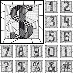 Mosaic numeric figures patterned lines.