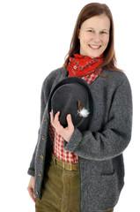Frau in bayrischer Kleidung zum Oktoberfest