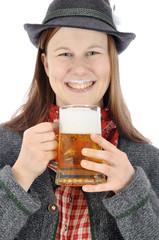 Frau in bayrischer Kleidung mit Maßkrug Bier