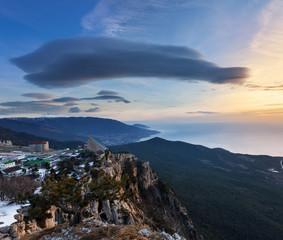 Sunrise over Ai-Petri mountain