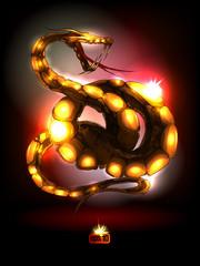 Bright glossy snake.