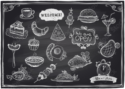 Hand drawn assorted food and drinks graphic. - 68369331