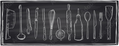 Hand drawn set of kitchen utensils on a chalkboard. - 68369348