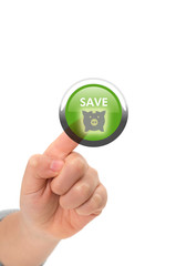 Online saving concept with hand pressing a virtual button