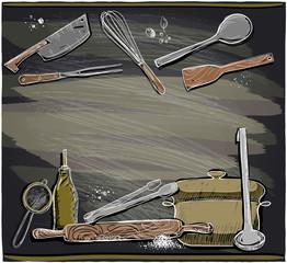 Design with kitchen utensils on a chalkboard.