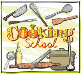 Cooking school graphic with utensils.