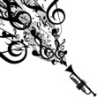 Vector Silhouette of Trumpet with Musical Symbols - 68369908