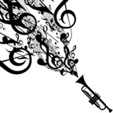 Vector Silhouette of Trumpet with Musical Symbols